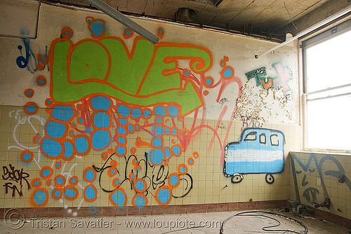 graffiti - abandoned hospital (presidio, san francisco) - PHSH, abandoned building, abandoned hospital, decay, graffiti, love, presidio hospital, presidio landmark apartments, trespassing, urban exploration