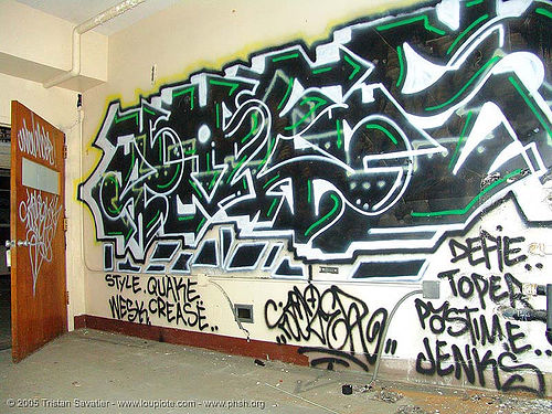 graffiti - abandoned hospital (presidio, san francisco) - phsh, abandoned building, abandoned hospital, graffiti, presidio hospital, presidio landmark apartments, trespassing