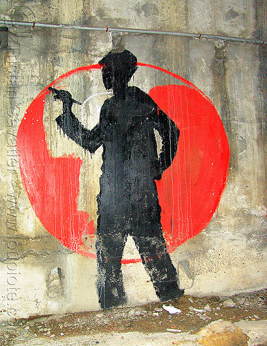 graffiti artist - muriel habert, black, graffiti artist, muriel habert, paint, painting, paris, red circle, silhouette, street art, wall