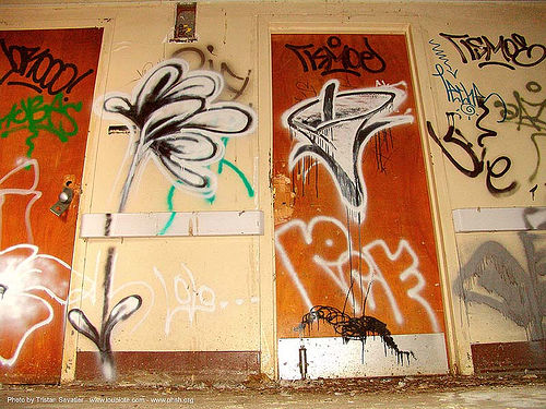 graffiti - flowers - LOLO, abandoned, abandoned building, abandoned hospital, decay, presidio hospital, presidio landmark apartments, trespassing, urban exploration