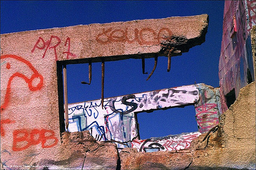 graffiti - windows, concrete, graffiti, lands end, ruins, windows