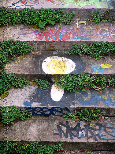 graffiti on abandoned stairs - petite ceinture - abandoned railway (paris, france), abandoned, egg, graffiti, paris, petite ceinture, railroad tracks, rails, railway tracks, street art, trespassing, urban exploration