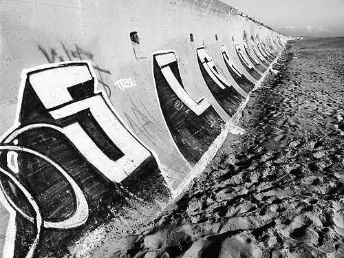 graffiti on the sea wall - ocean beach (san francisco), graffiti, ocean beach, perspective, sea wall, street art, vanishing point