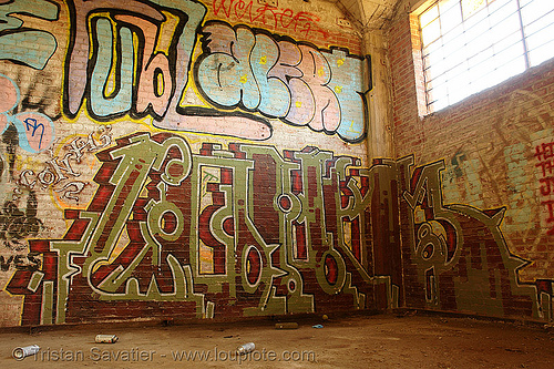 graffiti on wall in abandoned factory, derelict, graffiti piece, industrial, street art, tags, tie's warehouse, trespassing