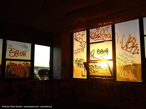 graffiti on windows - abandoned hospital (presidio, san francisco) - phsh, abandoned building, abandoned hospital, decay, graffiti, presidio hospital, presidio landmark apartments, trespassing, windows