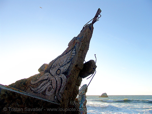 graffiti (san francisco), drax, graffiti, lands end, ocean, sea, squid, tentacles