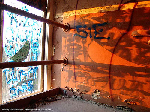 graffiti - shadow of broken window - abandoned hospital (presidio, san francisco) - phsh, abandoned building, abandoned hospital, decay, graffiti, orange, presidio hospital, presidio landmark apartments, shadows, trespassing