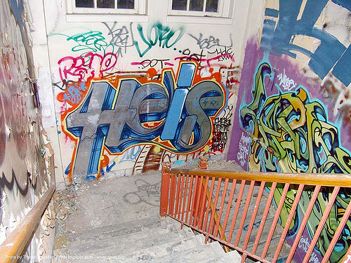 graffiti - stairway - abandoned hospital (presidio, san francisco) - phsh, abandoned building, decay, presidio hospital, presidio landmark apartments, staiways, trespassing