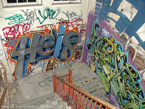 graffiti - stairway - abandoned hospital (presidio, san francisco) - phsh, abandoned building, abandoned hospital, decay, graffiti, presidio hospital, presidio landmark apartments, staiways, trespassing, urban exploration