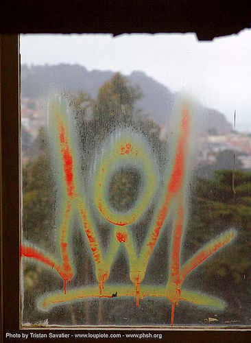 graffiti - window - abandoned hospital (presidio, san francisco) - phsh, abandoned building, abandoned hospital, chie wow, graffiti, presidio hospital, presidio landmark apartments, trespassing, window, worlds of wonder