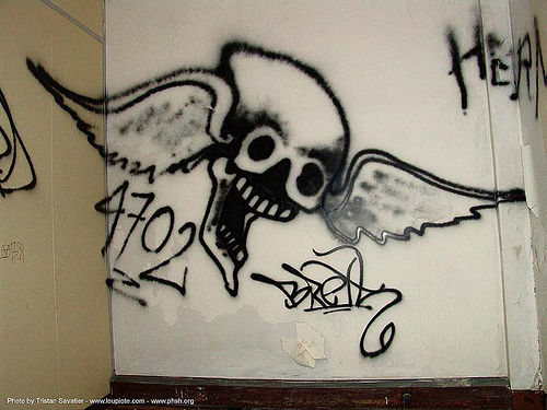 graffiti - winged skull - abandoned hospital (presidio, san francisco) - phsh, abandoned building, abandoned hospital, decay, graffiti, herman, presidio hospital, presidio landmark apartments, skull, trespassing, urban exploration, winged