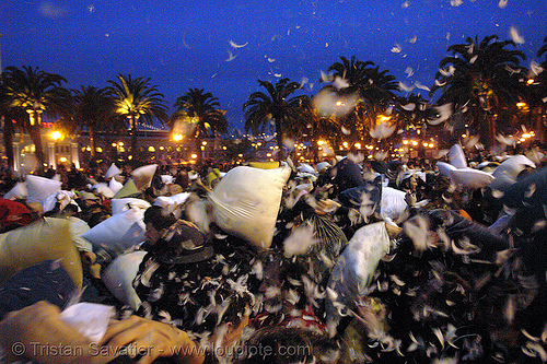 the great san francisco pillow fight 2007, crowd, down feathers, duvet, night, pillows, san francisco pillow fight, world pillow fight day