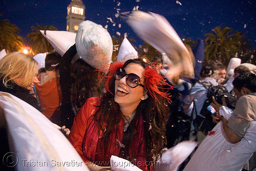 the great san francisco pillow fight 2008 - diana furka, down feathers, night, pillows, world pillow fight day