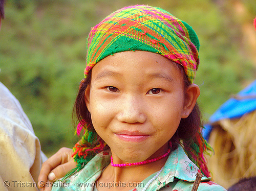 green hmong tribe  girl - vietnam, child, colorful, green hmong, hill tribes, hmong tribe, indigenous, kid, vietnam
