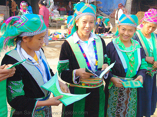 green hmong tribe girls - vietnam, asian woman, asian women, bảo lạc, colorful, green h'mong tribe, green miao, hill tribes, hmong njua, indigenous, lub dab tsho, mong njua, vietnam