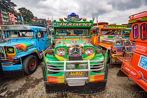 green jeepney on parking lot (philippines), baguio, colorful, decorated, front grill, jeepney, painted, philippines, truck