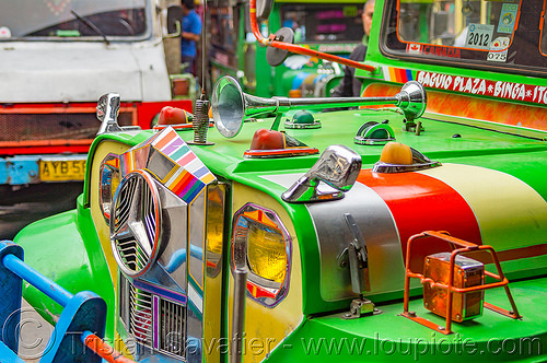 green jeepney (philippines), baguio, colorful, decorated, front grill, jeepney, painted, philippines, truck