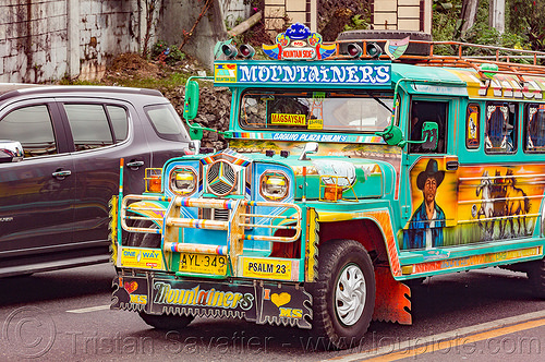 green jeepney (philippines), baguio, colorful, decorated, front grill, jeepney, painted, philippines, road, truck
