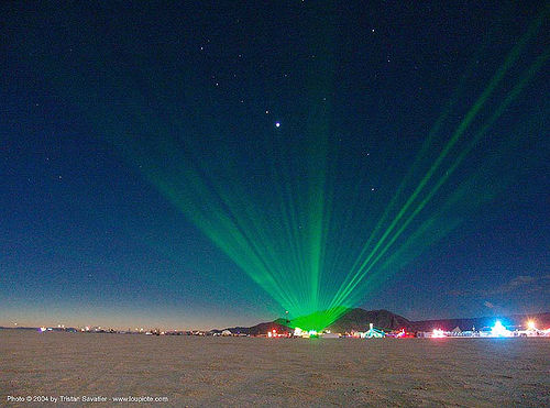 green laser on the playa - burning-man 2004, art, green laser, laser lightshow, laser show, night