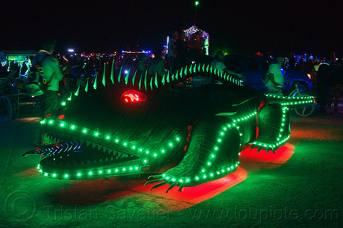 green lizard art car - burning man 2013, burning man, copper, glowing, green, lizard, metal, night, red, unidentified art car