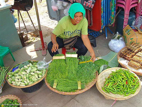 green vegetables sold on the market - thailand, asian woman, farmers market, green, merchant, stall, street market, street vendor, vegetables, veggies, ประเทศไทย