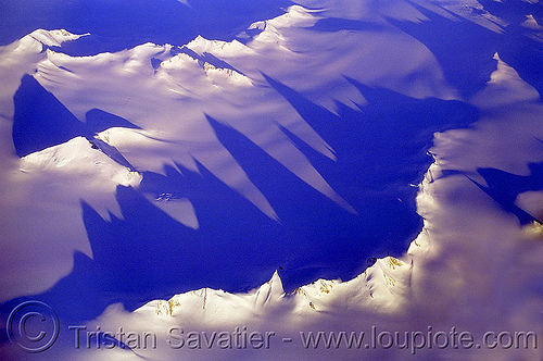 greenland, aerial photo, blue, greenland, ice, long shadows, mountains, raking light, raking sunlight, snow field
