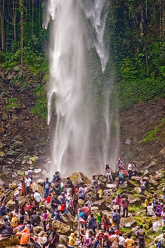grojogan sewu waterfall, crowd, falls, java, mountains, people, rocks, water