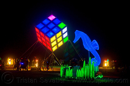 groovik's cube - giant rubik's cube and seahorse art car - burning man 2009, art car, burning man, groovik's cube, hippocampus, night, rubik cube, rubik's cube, seahorse
