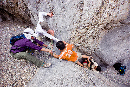 grotto canyon - climbing a dry fall, death valley, desert, dry fall, gravel, grotto canyon, mountain, narrow, pulling, rock climbing, sharon, slot canyon, stone