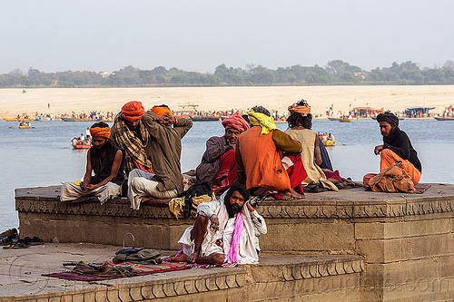 group of hindu men on the ghats of varanasi (india), babas, ganga, ganges river, ghats, hindu, hinduism, men, river bank, sadhus, sitting, varanasi
