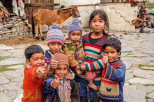 group of little children in himalayan village (india), baby, boys, children, horse, india, janki chatti, kids, knit cap, little girl, toddler, village