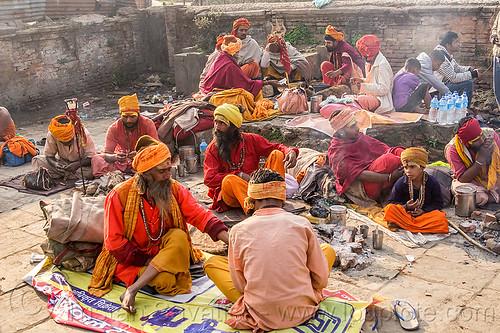 group of sadhus (hindu holy men) sitting near their bonfires (nepal), baba, beard, bhagwa, bonfire, festival, hindu, hinduism, kathmandu, maha shivaratri, man, pashupati, pashupatinath, sadhu, saffron color, sitting, smoke