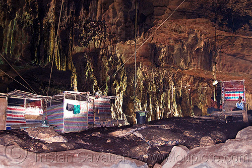 natural cave (borneo), bird-nest gatherers, birds-nest, cabin, camp, caving, men, natural cave, niah caves, people, resting, sitting, spelunking
