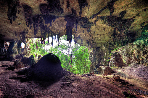 gua niah - painted cave - niah national park (borneo), archaeology, backlight, cave formations, cave mouth, caving, concretions, gua niah, jungle, natural cave, niah caves, niah painted cave, rain forest, speleothems, spelunking, stalactites