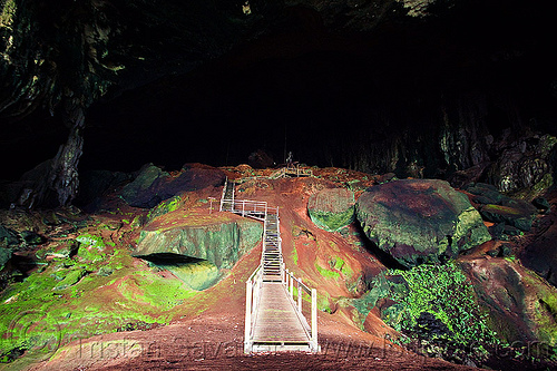 gua niah - walkway in huge natural cave - niah caves (borneo), borneo, caving, gua niah, malaysia, natural cave, niah caves, pathway, spelunking, walkway