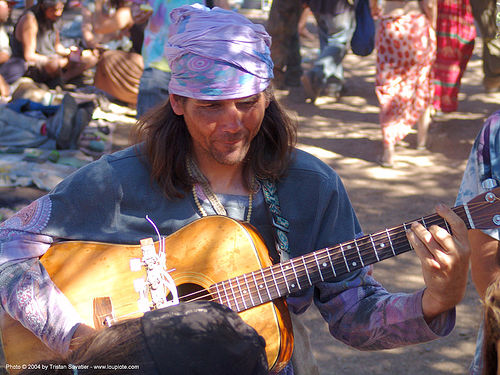 guitar-player - rainbow gathering - hippie, guitar player, hippie, rainbow family, rainbow gathering