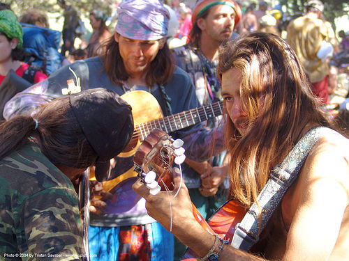 guitar-players - rainbow gathering - hippie, guitar players, guitars, hippie