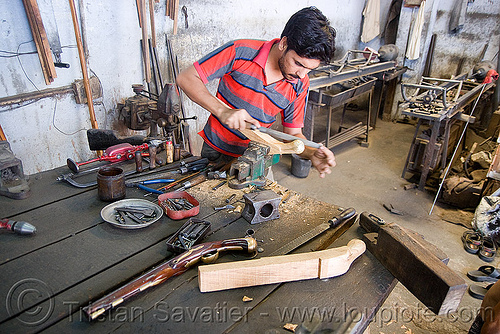 gun factory - udaipur (india), antique guns, factory, fire arms, india, rajasthan armoury, replicas, shotguns, udaipur, weapons, worker, working