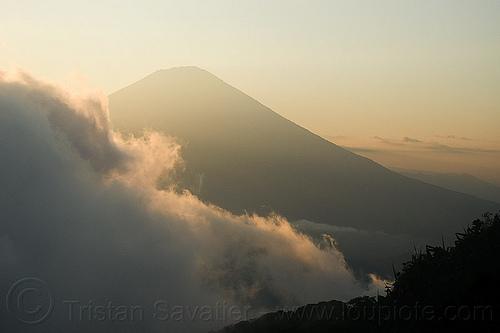 gunung agung, agung volcano, bali, clouds, cloudy, gunung agung, haze, hazy, mountains, stratovolcano