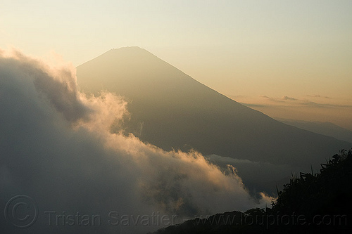 gunung agung, agung volcano, bali, clouds, cloudy, haze, hazy, mountains, stratovolcano