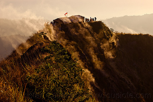 gunung batur, backlight, bali, batur volcano, flag, fumaroles, mount batur, mountains, people, shelter, silhouettes, smoke, smoking, steam, summit, sunrise, tea house
