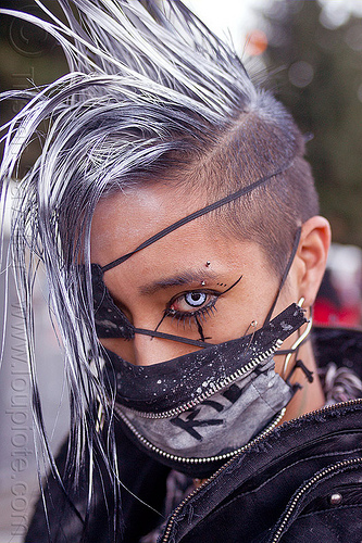 punk fashion, burning man decompression, color contact lenses, darik, dereck, derrick demolition, ear piercing, eye liner, eye patch, eyebrow piercing, fashion, make-up, mohawk hair, mouth mask, punk, special effects contact lenses, theatrical contact lenses, white contact lenses, white contacts, white mohawk, zippers