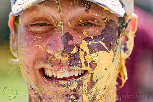 guy with paint on his face, acrylic paint, bay to breakers, festival, man, painter, street party