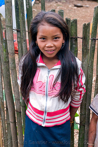 H'mong (hmong) girl (laos), child, colorful, fence, hill tribe, hmong, kid, laos, little girl
