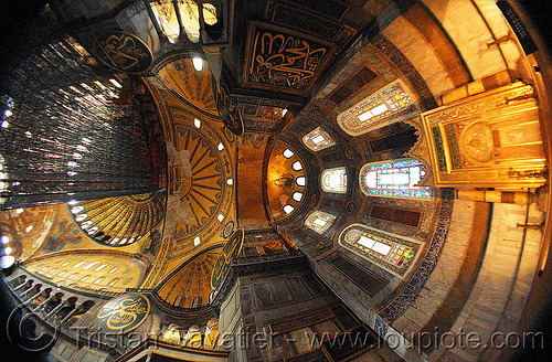 aya sofya interior - fisheye view (istanbul), arabic, aya sofya, byzantine architecture, calligraphy, church, fisheye, hagia sophia, inside, interior, islam, mosque, orthodox christian, religion