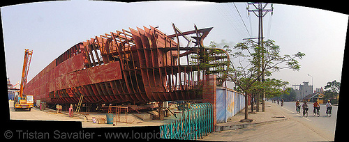 Hải phòng (hai phong) shipyard - vietnam, autostitch, boat, construction, hai phong shipyard, hull, hải phòng, metal, panorama, photo stitching, red, ship building, ship frame, steel frame, steel plates, stitched