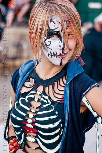 halloween costume - glow in the dark, costume, face painting, glow in the dark, halloween, skeleton, skull facepaint, stirling, woman