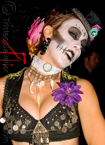 halloween face paint (san francisco), costume, ghostship 2008, halloween, rave party, skull makeup, space cowboys, wendy darling, wendy g, woman