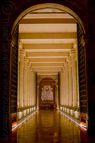 hallway with columns - ambedkar memorial, architecture, dr bhimrao ambedkar memorial park, india, inside, interior, lucknow, monument, night, vanishing point
