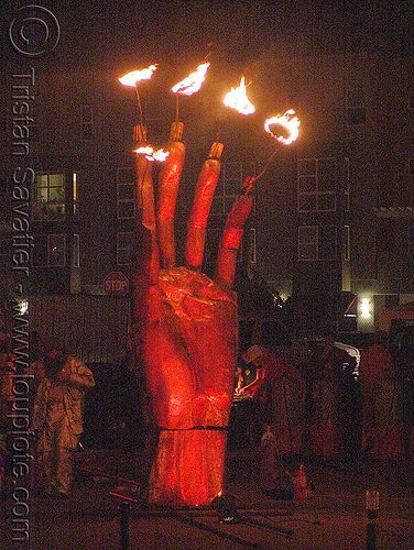 the hand of goddess by flaming lotus girls, art installation, fire art, hand, sculpture